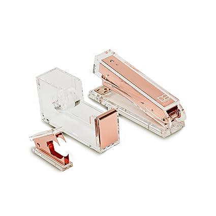 Draymond historia oro rosa acrílico papelería Bundle 1) grapadora 1) dispensador de cinta adhesiva
