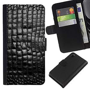 Planetar® Modelo colorido cuero carpeta tirón caso cubierta piel Holster Funda protección Para Sony Xperia Z3 D6603 ( Cuero del patrón Negro Brillante Bling Textura )