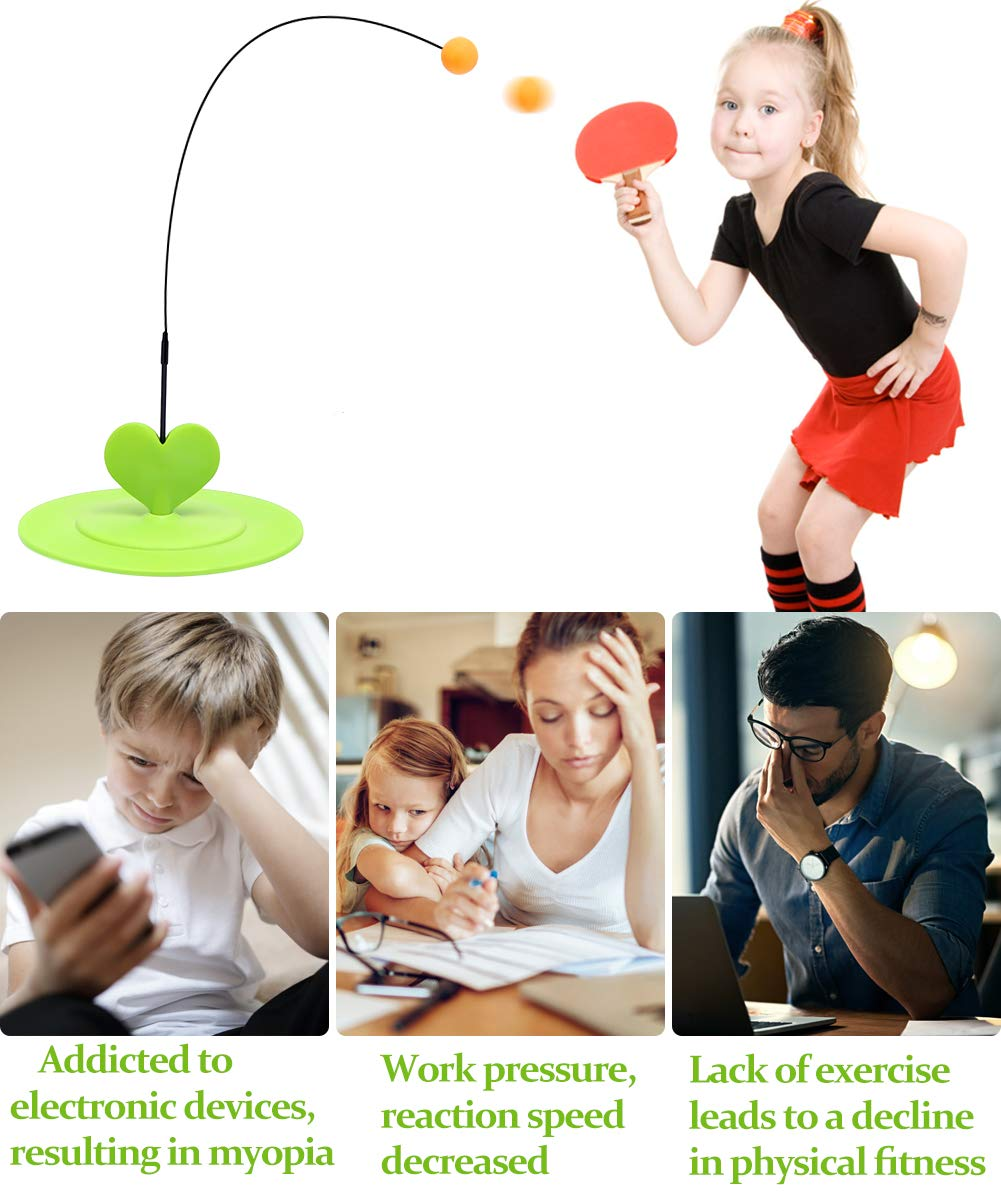 Vigeiya Table Tennis Trainer with Elastic Soft Shaft Portable Equipment Ping Pong Game Set for Kids Adults Outdoor Indoor Sport