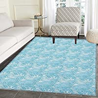 Teal and White Rugs for Bedroom Japanese Style Oceanic Waves Splashing Water Swirls Aquatic Artful Pattern Circle Rugs for Living Room 2x3 Blue White
