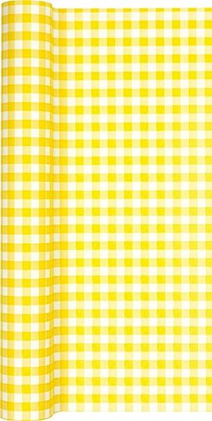 Camino de mesa papel cuadriculado en amarillo - blanco/camino ...