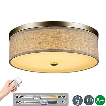 Retro LED Deckenleuchte Fernbedienung Dimmbare Deckenlampe Hellgelb Stoff  Runden Design Kreative Dekoration Leuchtung Romantische Innenbeleuchtung  Einfache