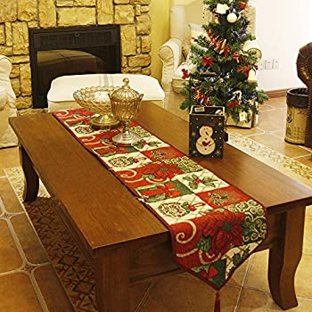 Christmas Decorative Table Runner ,Christmas Thanksgiving Day Flower Cotton  Soft Table Runner Cloth Home Wedding