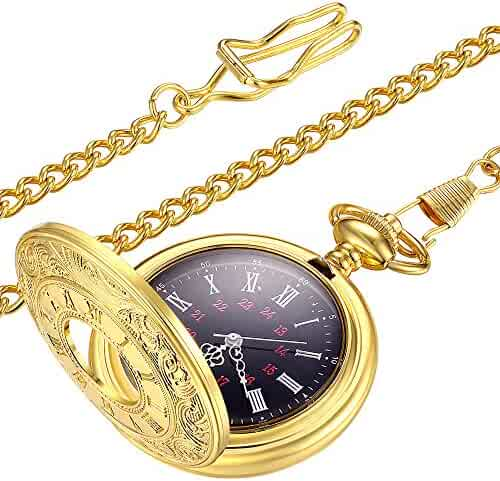 LYMFHCH Vintage Gold Pocket Watch Steel Mens Watch with Chain (Gold)