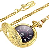 LYMFHCH Vintage Gold Quartz Pocket Watch, Roman Numerals Scale Mens Womens Watch with Chain