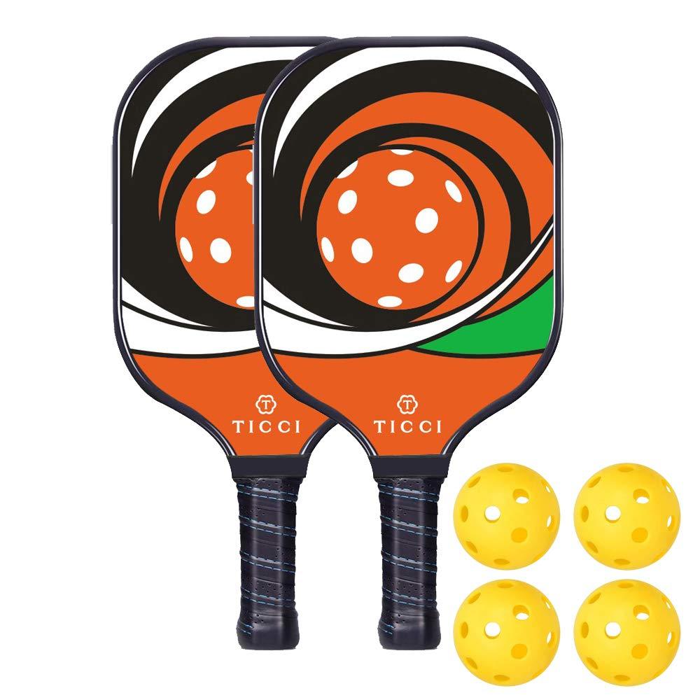 TICCI Pickleball Paddle Set Fiberglass Face Pickleball Racket Lightweight Honeycomb Composite Core Pickleball Racquet Set Includes 2 Paddles + 4 Balls(Red Green) by T TICCI