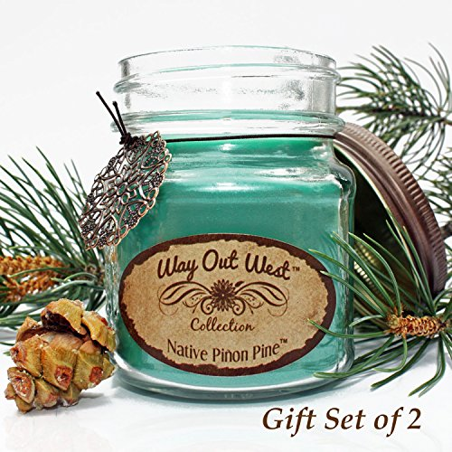 Scented Candles (2) in Glass Jars with Native Pinon Pine (Pinyon) -Gift Boxed Jar Candle Set with Charms- Southwest Decor / Santa Fe Style -Long Lasting, Soy Wax Blend - Make Great Holiday Gifts!