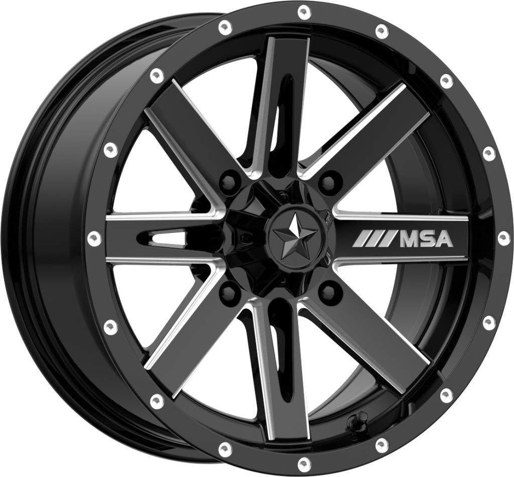 Bundle MSA Milled Boxer 14 ATV Wheels 28 BKT AT 171 Tires 9 Items 4x110 Bolt Pattern 10mmx1.25 Lug Kit