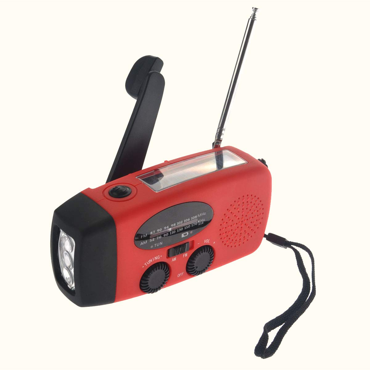 VOSAREA Emergency Solar Crank AM FM Camp Radio with LED Flashlight USB Output Port(Red) by VOSAREA (Image #9)