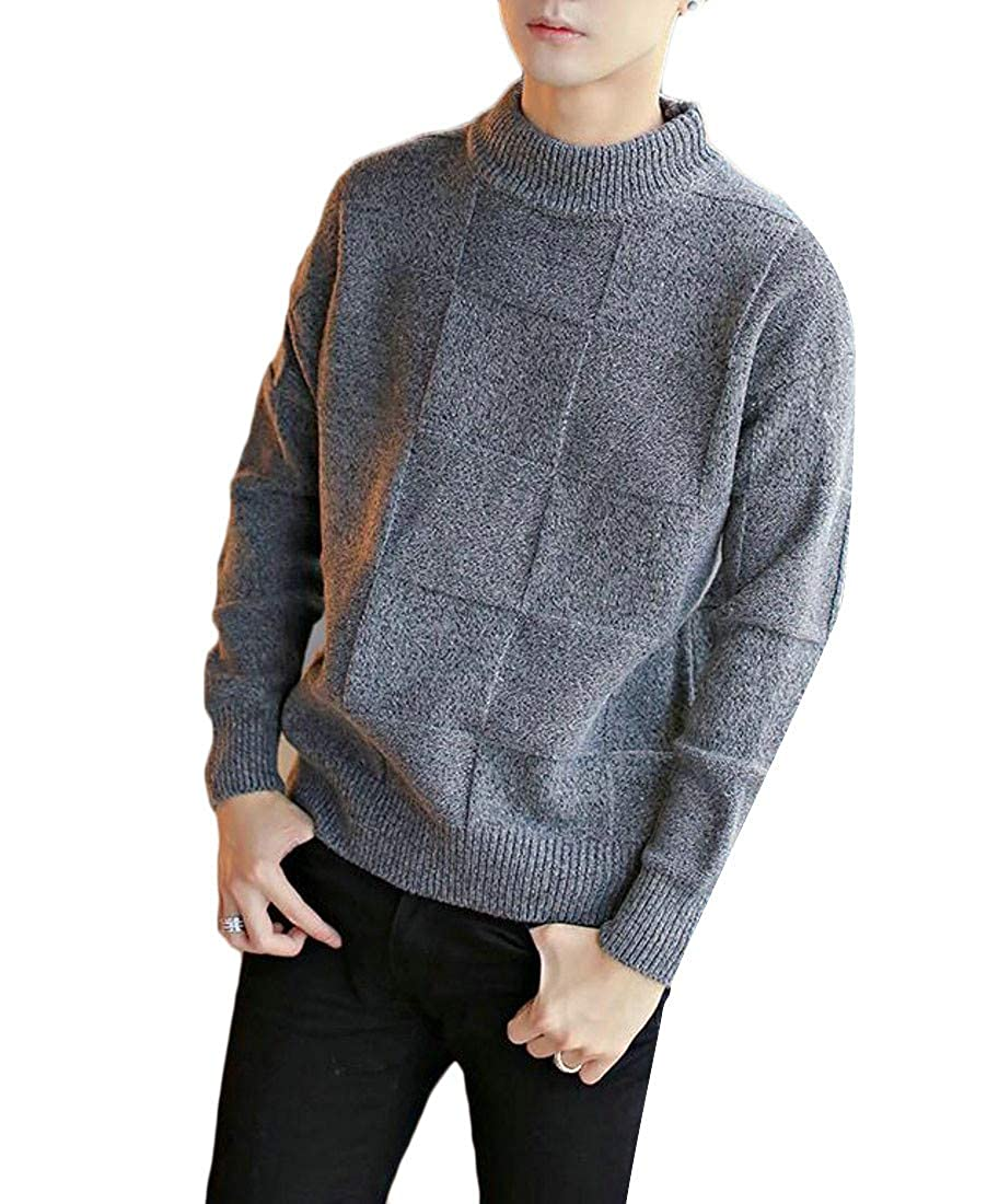 Macondoo Men Turtle Neck Jumper Winter Warm Knitted Plaid Pullover Sweaters