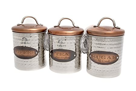 Copper Coffee Tea And Sugar Canisters With Stylish Copper Effect Lid
