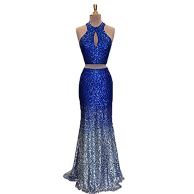 Graceprom Womens Two Pieces Gradient Sequined Royal Blue Prom Dress Halter Evening Dress 2