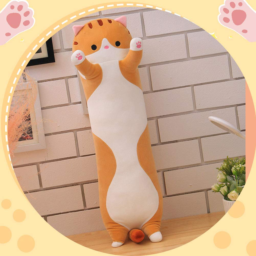 LAANCOO Beb/é Gato Almohada Larga 50 CM Gris Ultra Suave Gato Almohada de Dibujos Animados Decorativo Juguete Felpa