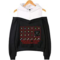 SERAPHY Trendy Television Series Strapless Hoodie New Season Crop Top Off Shoulder Pullover Fashion Hooded Sweatshirt for Women/Girls
