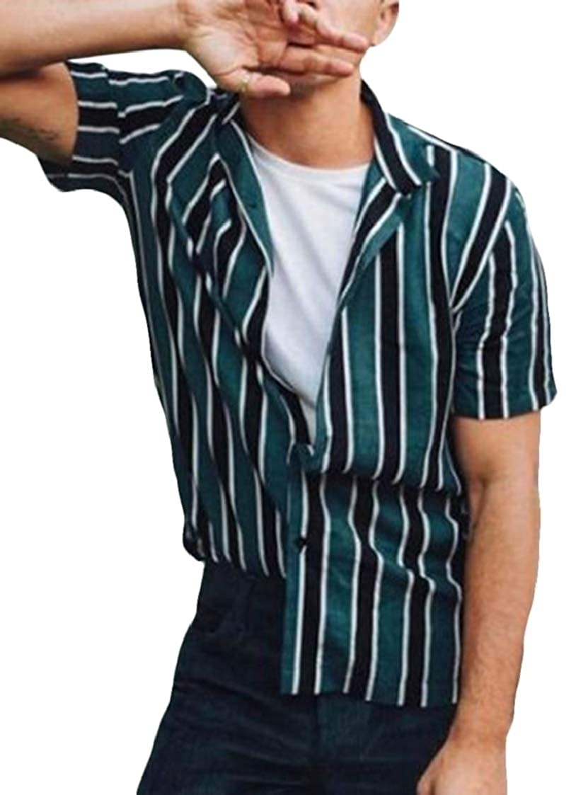 Nanquan Men Stripe Print Button Up Regular Fit Contrast Short Sleeve Shirts