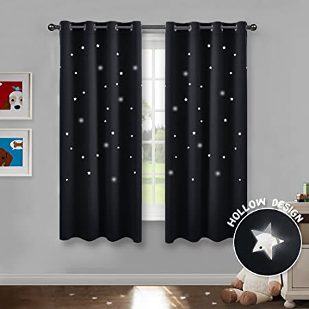 PONY DANCE Hollow Out Eyelet Star Curtains 52 Inches Width 63 In Depth Black