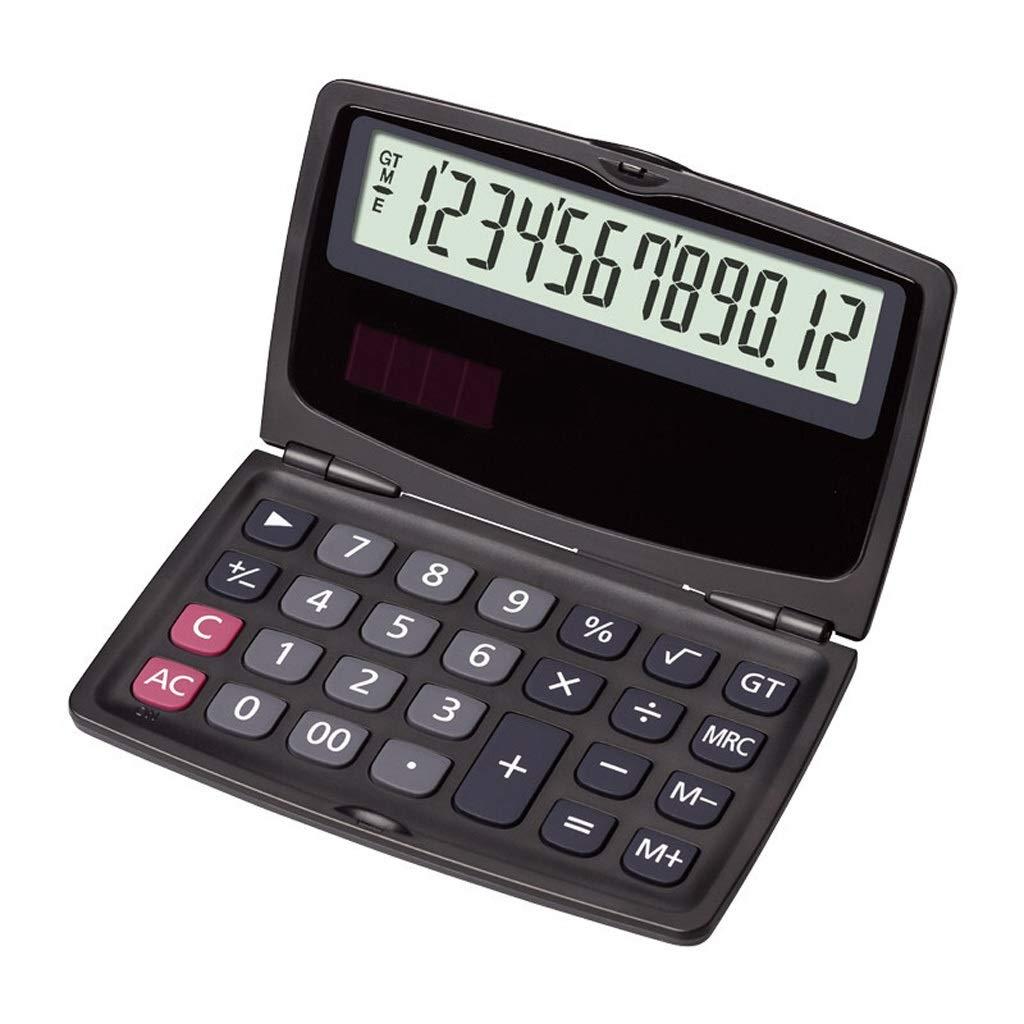 Xuejuanshop Desktop Portable Folding Calculator Student Office Financial Science 12-Digit Display Computer Dual Power Electronic Calculator