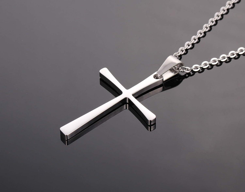 Simple Plain Titanium Stainless Steel Religious Cross Pendant Necklace for Men Women