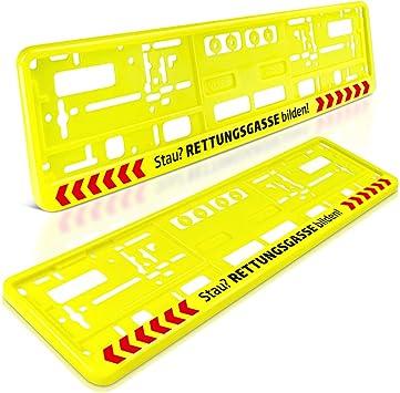 Schildevo 2 Kennzeichenhalter Stau Rettungsgasse Bilden Neon Gelb Nummernschildhalter Kennzeichenrahmen Typ E Dhl Versand Auto