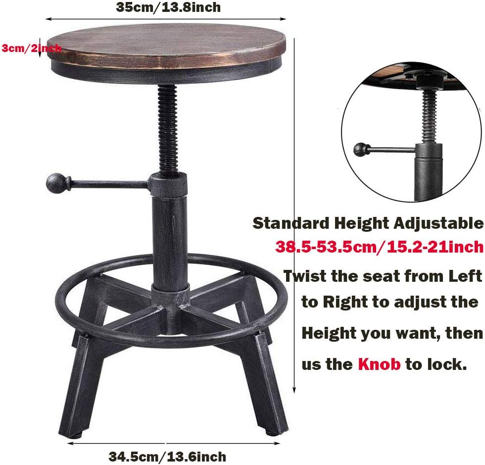 VINTAGELIVING Industrial Bar Stool-Counter Height Chairs- Swivel Wooden Seat- Adjustable 15.2-21