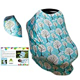 Baby Car Seat Cover - eBook set Bandana Drool Bib kit - Baby Car Seat Canopy - Nursing Breastfeeding Cover Scarf Blue - Shopping Cart And Stroller - Stretchy Multi Use Infant Car Seat Cover for Boys and Girls