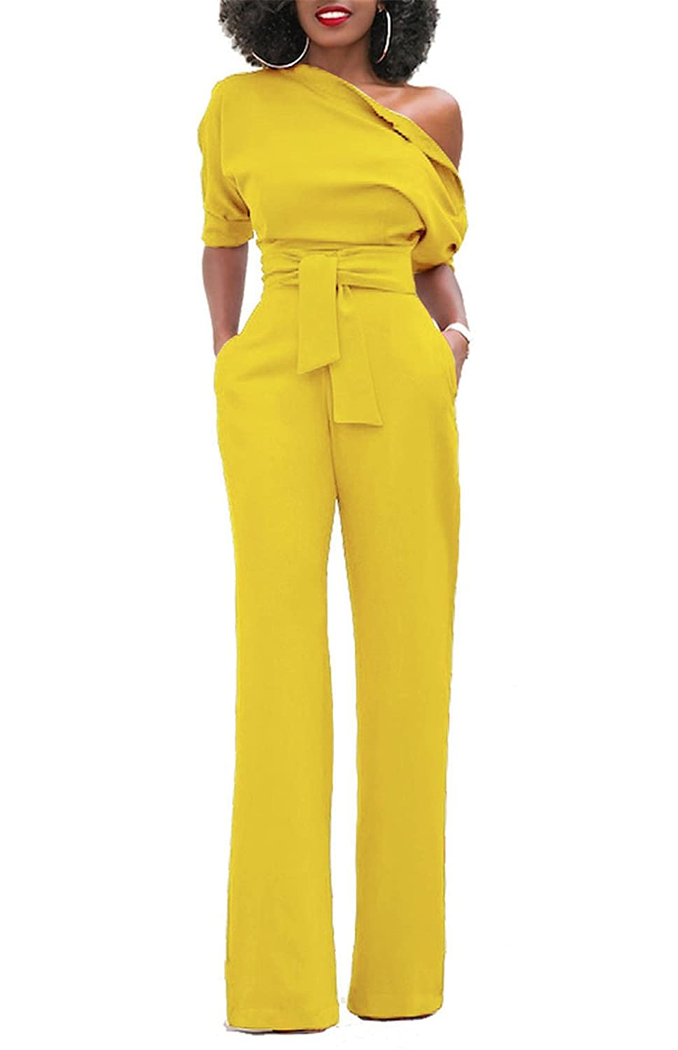 d2dfcd154cbe ONLYSHE Womens Sexy Half Sleeve One Shoulder Tied Waist Bodycon Party  Clubwear Jumpsuit Rompers
