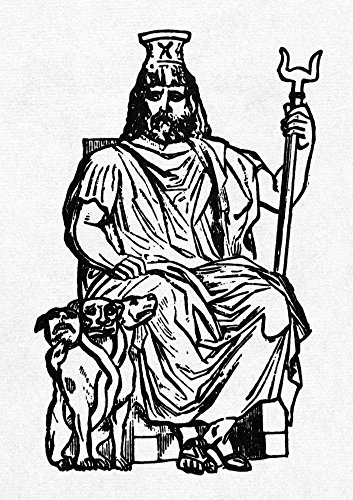 Hades Nhades (Pluto) Greek God Of The Underworld Guarded By Cerberus His Three-Headed Serpent-Tailed Dog Line Engraving Poster Print by (18 x -