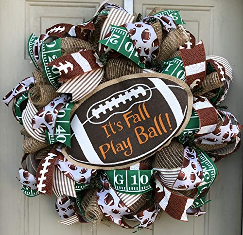 Fall Football Wreath | Fall Football Decor | Football Door Hanger | Door Wall Decor | FREE Shipping | Burlap Bowtique -