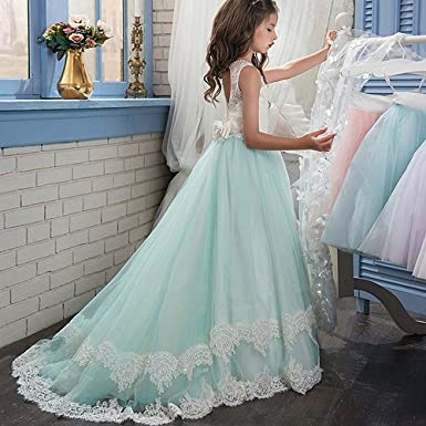 Amazon.com: PLwedding Lace Flower Girls Dresses Kids First Communion ...