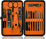 Manicure Pedicure Set Nail Clippers -15pcs Travel & Grooming Luxurious Kit with Case (Black/Tangerine)