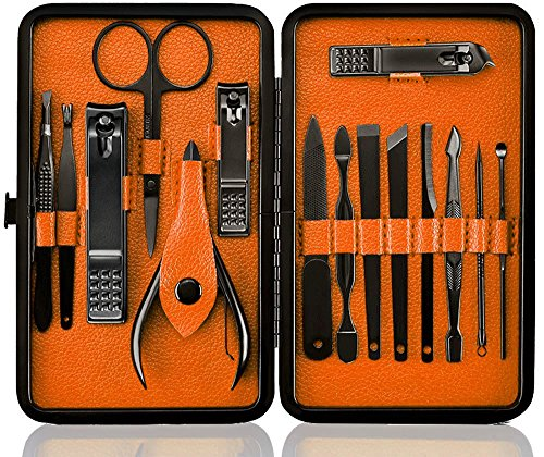 Manicure Pedicure Set Nail Clippers -15pcs Travel & Grooming Luxurious Kit with Case (Black/Tangerine) by Georsh