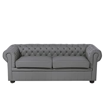 Sensational Beliani Traditional Style Genuine Leather Sofa Grey Tufted 3 Interior Design Ideas Gentotthenellocom