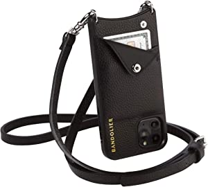 Bandolier Emma Crossbody Phone Case and Wallet - Black Leather with Silver Detail - Compatible with iPhone Xs Max Only