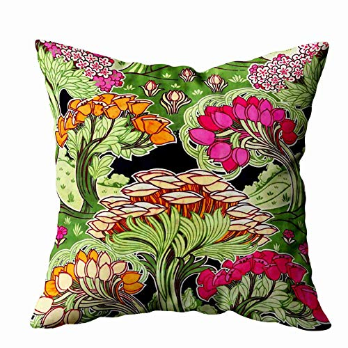 Shorping Zippered Pillow Covers Pillowcases 20X20 Inch Art Nouveau Flora and Plants American mojo Decorative Throw Pillow Cover,Pillow Cases Cushion Cover for Home Sofa Bedding