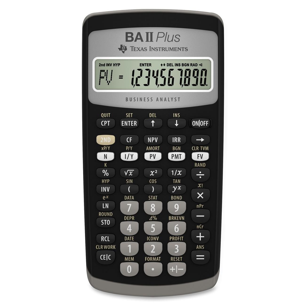 Texas Instruments Ba Ii Plus Financial Calculator Black 1 4