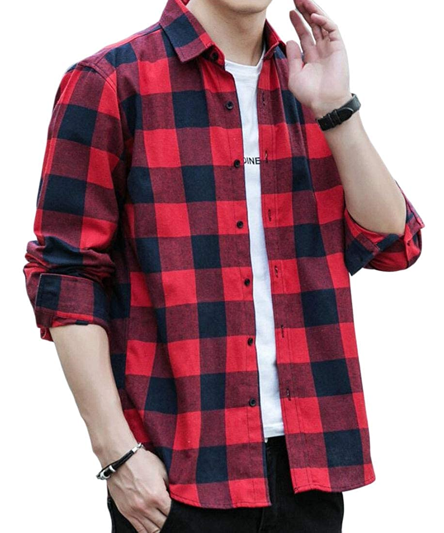 GAGA Mens Regular Fit Shirt Plaid Casual Long Sleeve Button Down Dress Shirts