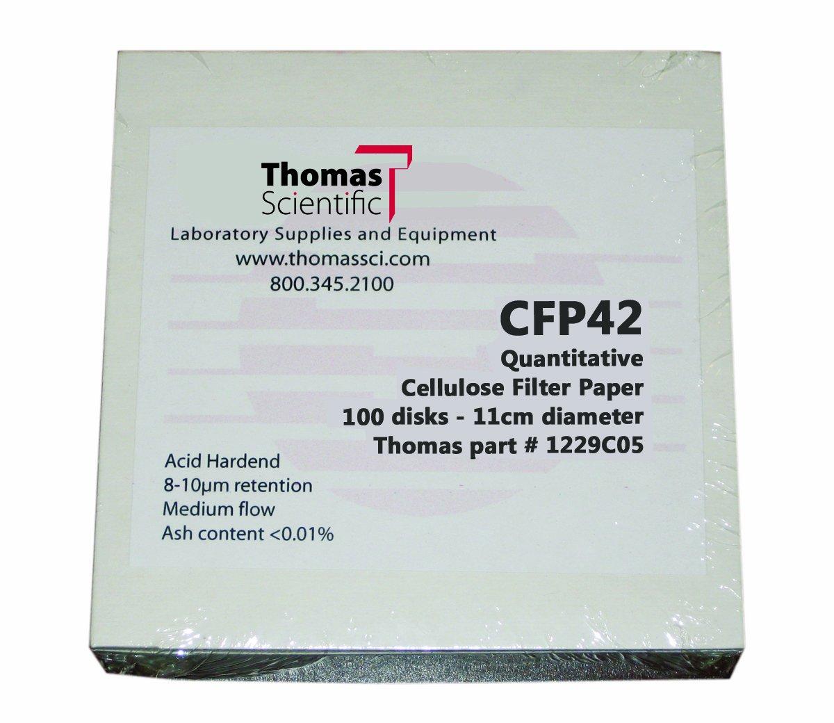 Thomas CFP42-150 Cellulose Quantitative Filter Paper 2-3 Micron Pack of 100 Slow Flow 15cm Diameter Grade CFP42