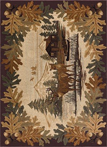 Tayse Oak Deer Novelty Lodge Brown Area Rug, 8' x 10'