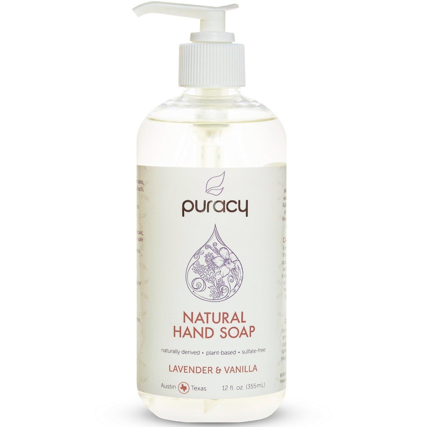 Natural Liquid Hand Soap - Sulfate-Free - Plant-Based - Non-Toxic - Lavender & Vanilla 12 FL. OZ. PUMP