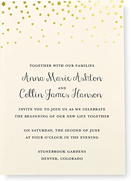 Pack of 10 Cream /& Gold Evening Wedding Invitation Cards Envelopes Included