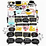 TRLTC 52pcs Fun Wedding Decoration Photo Booth Props DIY Mr Mrs Photobooth Props Photo Accessories Wedding Event Party Supplies