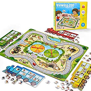 Kidpal Toddler Board Game for Kids Boy and Girl Age 3 4 Viewing Zoo A Fun Family Games You'll Want to Play, Junior Educational Toys and Games to See Who Got The Most Passengers in The Zoo
