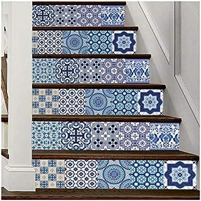 SERFGTFH Decoracion DIY Pasos Adhesivo Removible Adhesivo Escalera Decoracion Azulejos Cerámicos Patrones Adhesivo De Pared Home Deco: Amazon.es: Hogar