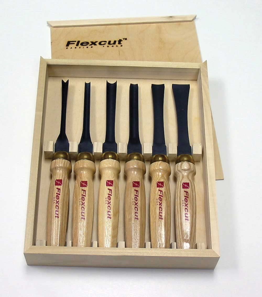 Flexcut Carving Tools, Mallet-Carving Chisels and Gouges for Woodworking, Starter Set of 6 MC150