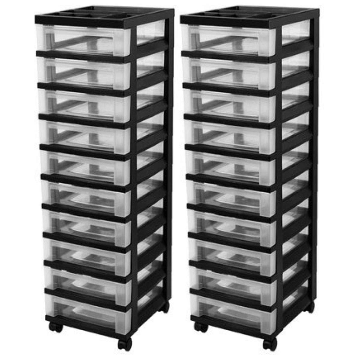 IRIS 10-Drawer Rolling Storage Cart with Organizer Top (Set of 2, Black)