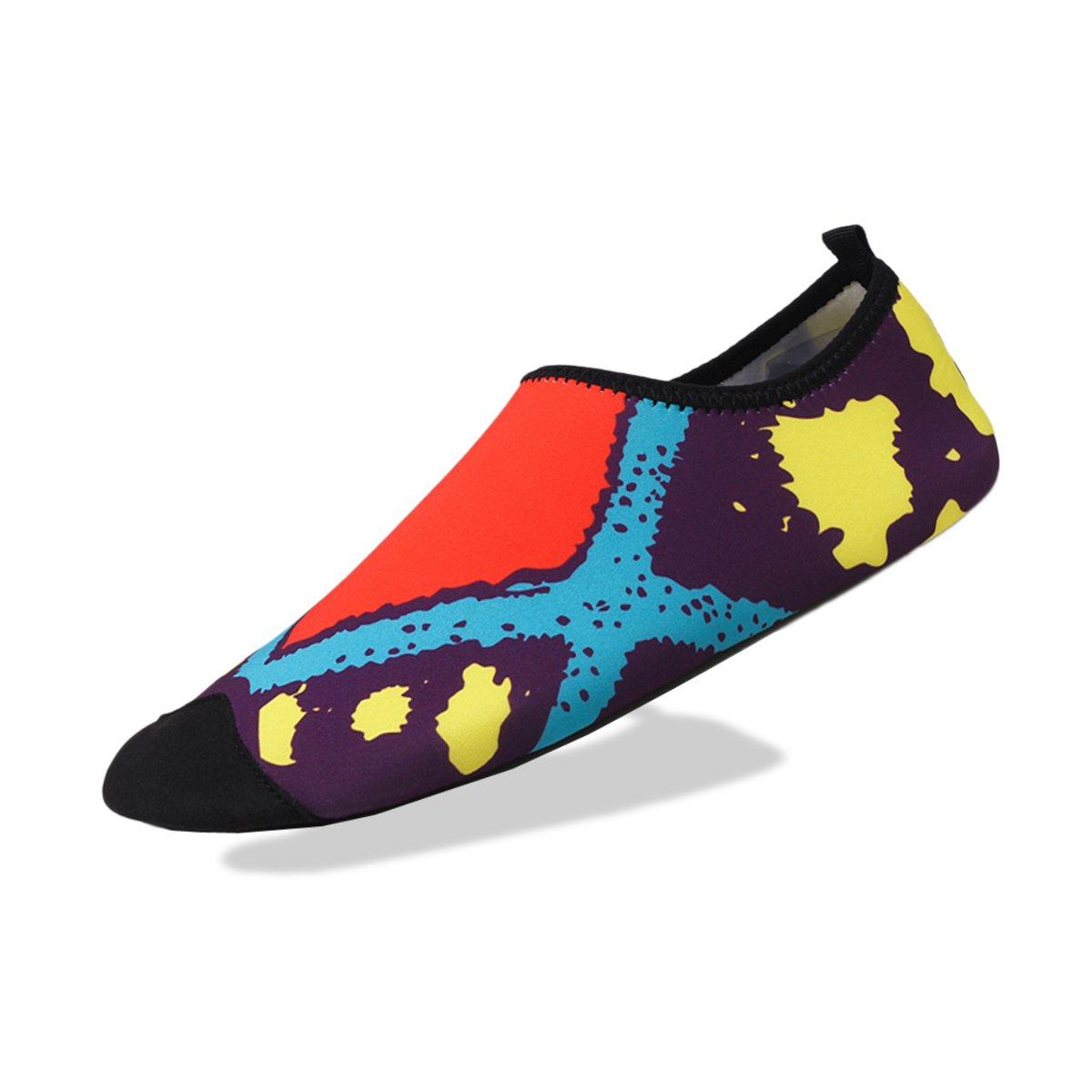Hongyuns Water Sports Shoes Barefoot Quick-Dry Aqua Yoga Socks Slip-On for Men Women Kids (Women:9.5-10.5/Men:7.5-8.5, Red-Yellow)