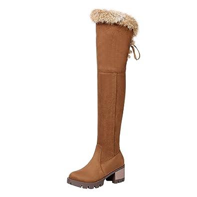 exklusive Schuhe detaillierter Blick aktuelles Styling UH Damen Blockabsatz Overknee Stiefel mit Warm Gefütterte und  Reißverschluss 6cm Absatz Bequeme Winter Schuhe
