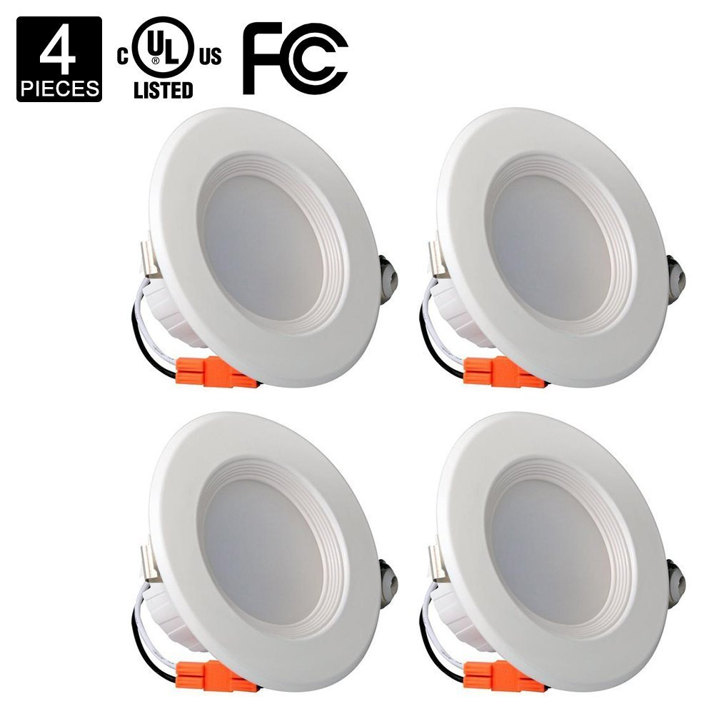 HERO-LED  RDL-9W-WW LED Downlight, 4 Inch 9W 65W Equivalent Dimmable Retrofit LED Recessed Lighting Kit Fixture, Warm White 3000K, UL Approved, 4-Pack by HERO-LED