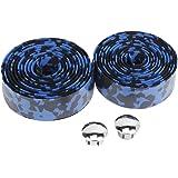 自転車 バーテープ ハンドルバーテープ  左右 2個 セット ハンドル グリップ ブラックとブルー