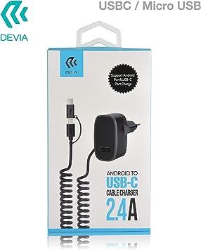 desvía Cargador Micro-USB/USB Tipo C Cargador Puerto USB 2.4 A 3 ...
